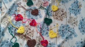Hearts for project: yarnbomb